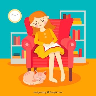 著書を持つ女性の美しいシーンカラフルな背景