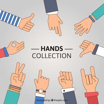 異なる手のコレクション
