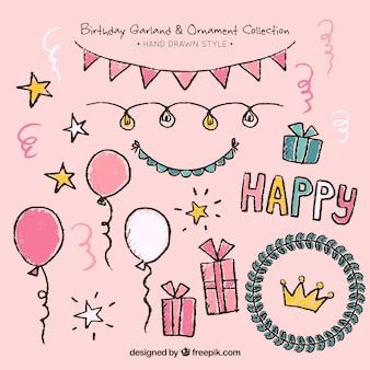 手描きの誕生日の装飾セット