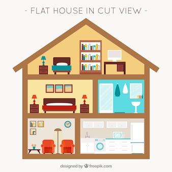 フラットなデザインの家具付ルーム