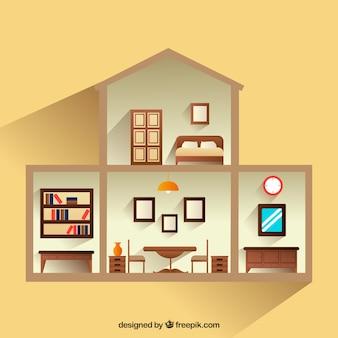 木製家具付きの家のインテリアビュー
