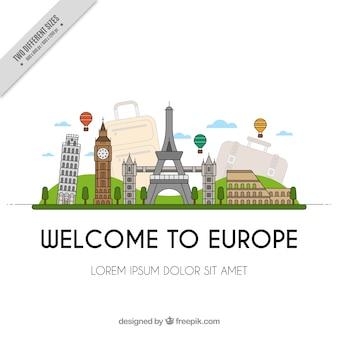 テキスト「ヨーロッパへようこそ」と記念碑の背景