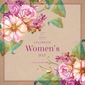女性の日のヴィンテージ水彩画の花の背景