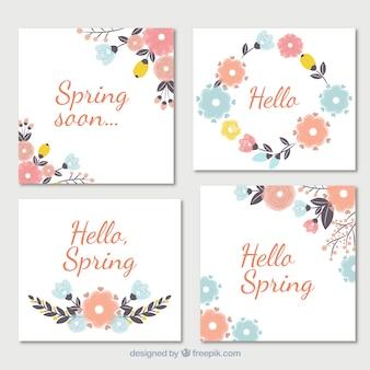 パステルトーンでの花のカードのセット
