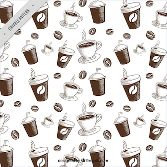 Большой шаблон с кофе в зернах и кружек