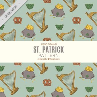 ハープや他の聖人パトリックの要素のヴィンテージパターン