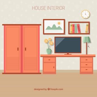食器棚や机のある部屋のインテリア