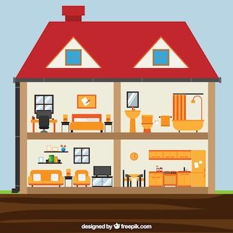 フラットなデザインの客室と家のインテリア