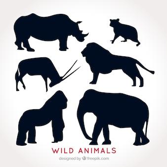 Набор диких животных силуэты