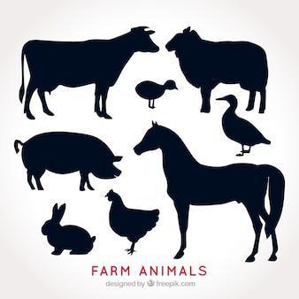 農場の動物のシルエットのパック