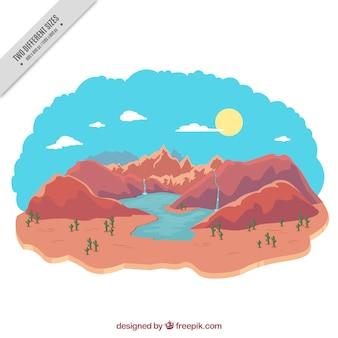 滝やサボテンと山岳背景