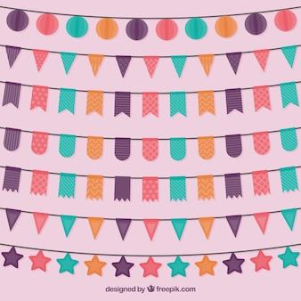 Коллекция цветных гирлянд день рождения