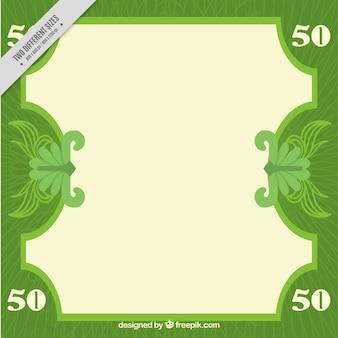 フラットなデザインのグリーン紙幣の背景