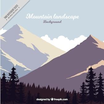 山岳と森林景観の背景