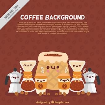 笑顔文字でコーヒー背景