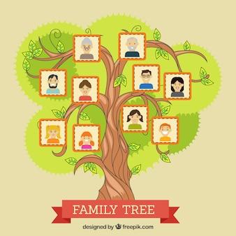 装飾的な家族とカラフルなツリー