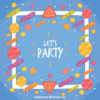カラフルな幾何学的形状とブルーのパーティーの背景