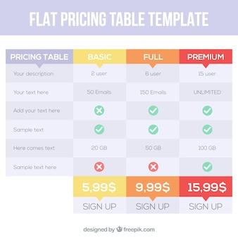 フラットなデザインで価格表テンプレート