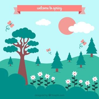 木々や花で春の風景