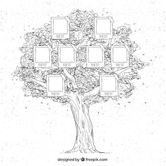 手描きスタイルで大家族の木