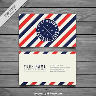 Визитная карточка с синими и красными полосами