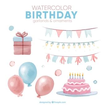 誕生日の花輪や装飾品の水彩セット