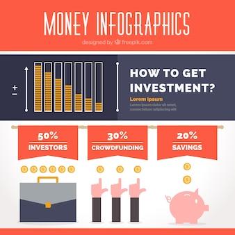 Плоский инфографики шаблон об инвестициях