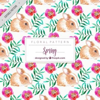 水彩花とかわいいウサギのパターン