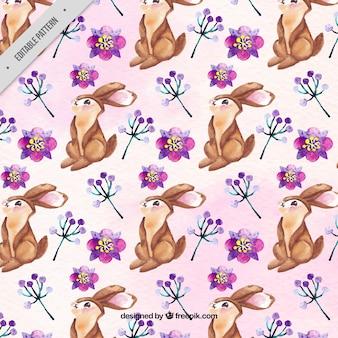 Рисунок зайчика с акварельными цветами