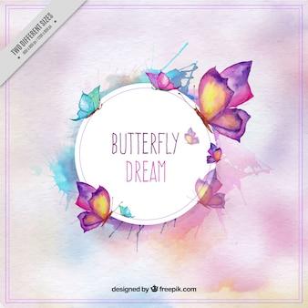水彩画のスタイルでかわいい蝶の背景