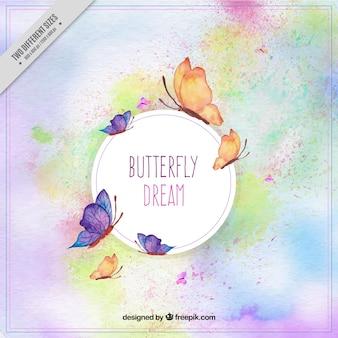 水彩画で描いた蝶の幻想的な背景