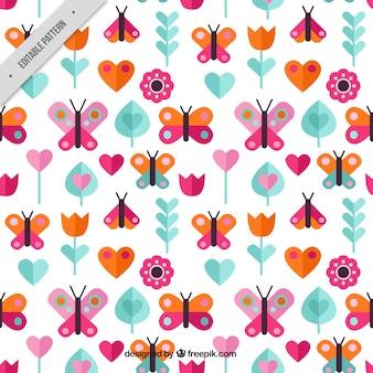 フラット蝶のカラフルなパターン
