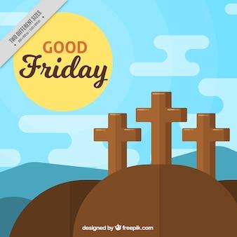 フラットデザインの十字架と聖金曜日の背景