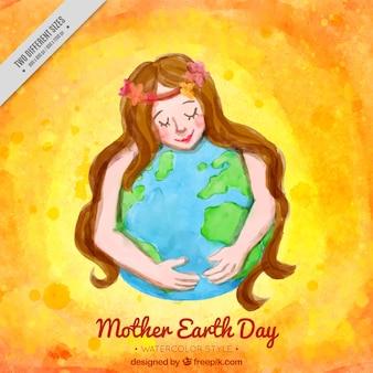 地球を抱いた女性のかわいい水彩画の背景