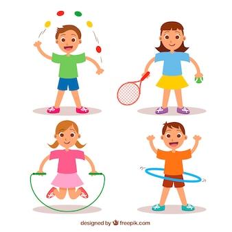 Четверо детей заниматься спортом