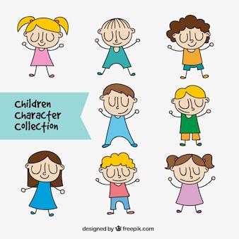 Набор детей персонажей с закрытыми глазами