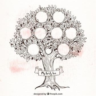 レトロなスタイルで素晴らしい家族の木