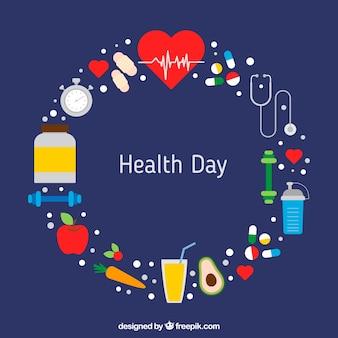 医学の要素と健康的な食事で作られた花輪の背景