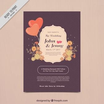 装飾的な花やハートを持つブライダルシャワーの招待状