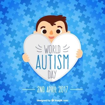 世界自閉症の日のパズルのピースの青色のパズルのピース
