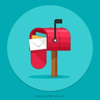 Зеленый фон почтовый ящик с конвертами