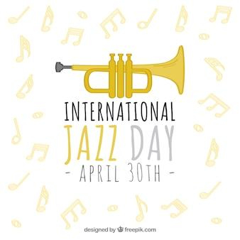 トランペットと音符とジャズの背景