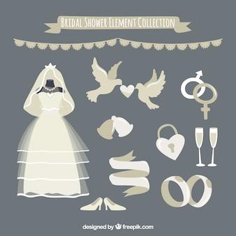 ウェディングドレスと結婚式要素のセット