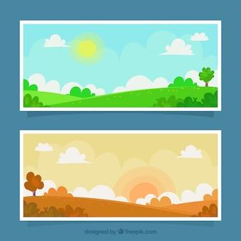一日の異なる時間に風景のバナー