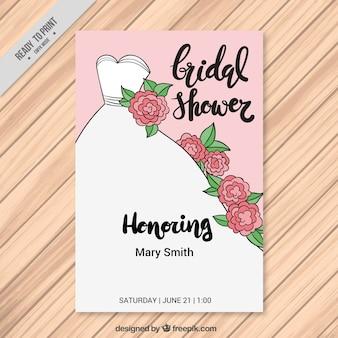 ウェディングドレスと花手描きの独身招待