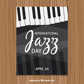 ピアノのキーを持つ国際的なジャズの日のパンフレット
