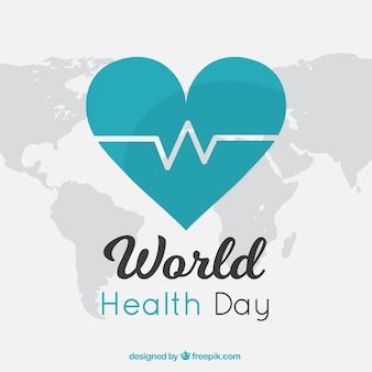 世界保健日のグリーンハートの背景
