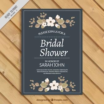 花の飾りとのブライダルシャワーの招待状