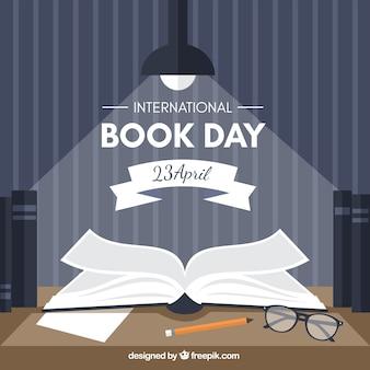 国際ブック日レトロな背景