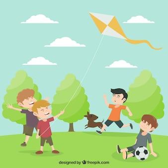 Большой фон с мальчиками, играющих в парке
